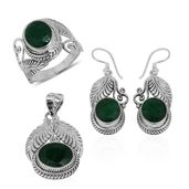 Bali Legacy Collection Emerald (Color Enhanced) Sterling Silver Leaf Engraved Earrings, Ring (Size 5) and Pendant without Chain TGW 24.71 cts.