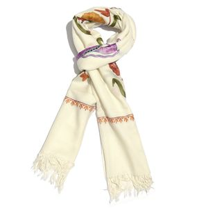 White Butterfly Embroidered 100% Merino Wool Scarf (80x28 in)