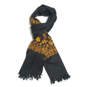 Black Embroidered 100% Merino Wool Scarf (80x28 in)
