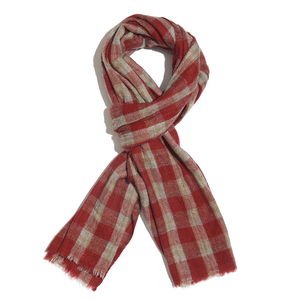 Red and Brown Checks Pattern 60% Wool & 40% Acrylic Blend Scarf (80x28 in)