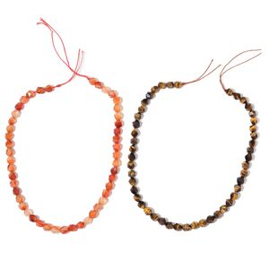 Gem Workshop Enhanced Red Agate, South African Tigers Eye Beads Set of 2 String (15 in) TGW 247.00 cts.