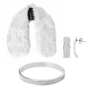 Cream Faux Fur Stole (38x5.5 in), Austrian Crystal Stainless Steel Bangle (7 in) and Earrings
