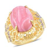 Australian Pink Opal, Multi Gemstone 14K YG Over Sterling Silver Ring (Size 7.0) TGW 7.81 cts.