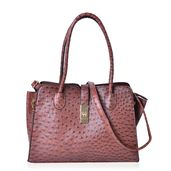Brown Ostrich Embossed Faux Leather Structure Bag (14.5x6.5x10 in) with Standing Studs and Removable Strap (42 in)