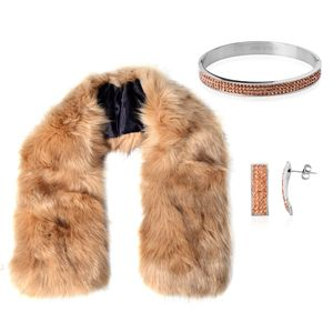Tan Faux Fur Stole (38x5.5 in), Austrian Crystal Stainless Steel Bangle (7 in) and Earrings