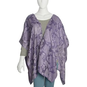 Purple and Lilac Reversible 100% Viscose Floral Jacquard Ruana (One Size)