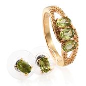 Hebei Peridot ION Plated 18K YG Stainless Steel Earrings and Ring (Size 10) TGW 2.45 cts.