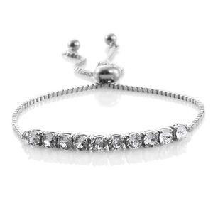 KARIS Collection - Platinum Bond Brass Bracelet Made with SWAROVSKI White Crystal TGW 1.85 cts.