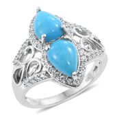 Arizona Sleeping Beauty Turquoise, Cambodian Zircon Platinum Over Sterling Silver Ring (Size 7.0) TGW 4.54 cts.