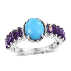 Arizona Sleeping Beauty Turquoise, Amethyst Platinum Over Sterling Silver Ring (Size 9.0) TGW 3.50 cts.