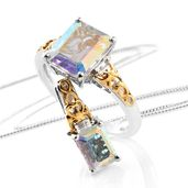 Mercury Mystic Topaz, White Topaz 14K YG and Platinum Over Sterling Silver Ring (Size 10) and Pendant With Chain (20 in) TGW 7.40 cts.