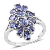 Premium AAA Tanzanite Platinum Over Sterling Silver Split Ring (Size 5.0) TGW 2.85 cts.