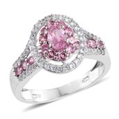 Mahenge Pink Spinel, Cambodian Zircon Platinum Over Sterling Silver Ring (Size 10.0) TGW 2.07 cts.
