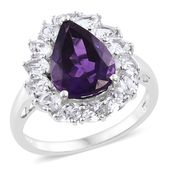 Amethyst, White Topaz Platinum Over Sterling Silver Ring (Size 9.0) TGW 7.90 cts.