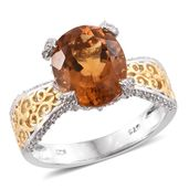 Tony's Collector Show Santa Ana Madeira Citrine, Cambodian Zircon 14K YG and Platinum Over Sterling Silver Ring (Size 7.0) TGW 5.20 cts.