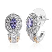 Tony's Collector Show Tanzanite, White Topaz 14K YG and Platinum Over Sterling Silver J-Hoop Earrings TGW 2.41 cts.