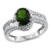 14K WG Russian Diopside, Diamond Ring (Size 9.0) TDiaWt 0.47 cts, TGW 2.37 cts.