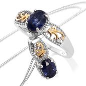 Masoala Sapphire, White Topaz, Cambodian Zircon 14K YG and Platinum Over Sterling Silver Ring (Size 5) and Pendant With Chain (20 in) TGW 3.23 cts.
