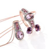 Rose De France Amethyst, Madagascar Pink Sapphire, Diamond Accent 14K RG Over Sterling Silver Earrings, Ring (Size 10) and Pendant With Chain (20 in) TGW 4.59 cts.