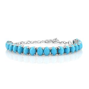 Arizona Sleeping Beauty Turquoise Platinum Over Sterling Silver Oval Line Bracelet (7.50 In) TGW 12.75 cts.
