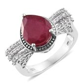 Niassa Ruby, Cambodian Zircon Platinum Over Sterling Silver Halo Ring (Size 9.0) TGW 7.36 cts.