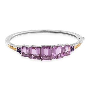Pink Moscato Quartz, Amethyst 14K YG and Platinum Over Sterling Silver Bangle (7.50 in) TGW 31.66 cts.