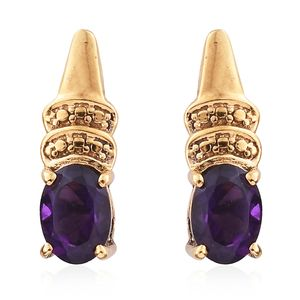 KARIS Collection - Amethyst ION Plated 18K YG Brass Drop Earrings TGW 1.26 cts.