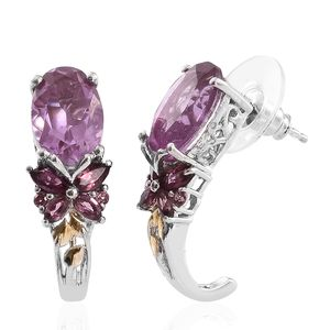 Pink Moscato Quartz, Orissa Rhodolite Garnet 14K YG and Platinum Over Sterling Silver Butterfly J-Hoop Earrings TGW 8.47 cts.