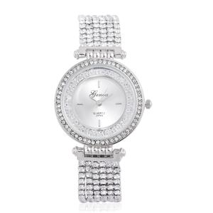 GENOA Austrian Crystal Japanese Movement Multi Stand Bracelet Watch in Silvertone with Stainless Steel Back (7.75in)
