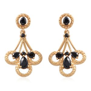 KARIS Collection - Simulated Black Diamond ION Plated 18K YG Brass Earrings TGW 3.22 cts.