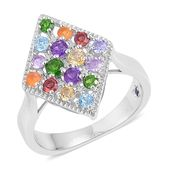 GP Multi Gemstone Sterling Silver Cluster Ring (Size 5.0) TGW 1.30 cts.