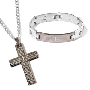 Doorbuster ION Plated Black and Stainless Steel Lord's Prayer Bracelet (8.50 in) and Cross Pendant With Chain (24.00 In)