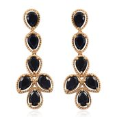 Black Sapphire 14K YG Over Sterling Silver Earrings TGW 12.80 cts.