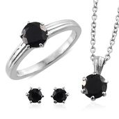 Thai Black Spinel Stainless Steel Earrings, Ring (Size 9) and Pendant With Chain (20 in) TGW 3.96 cts.