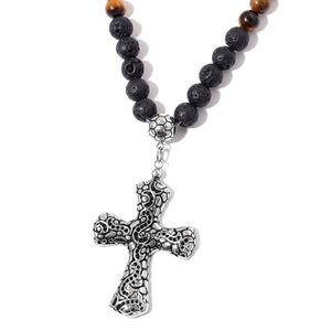 Lava, South African Tigers Eye Black Oxidized Stainless Steel Cross Necklace (24 in) TGW 284.00 cts.