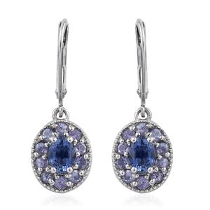 Mega Clearance Ceylon Blue Sapphire, Tanzanite Platinum Over Sterling Silver Lever Back Earrings TGW 2.10 cts.