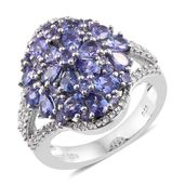 Premium AAA Tanzanite, Cambodian Zircon Platinum Over Sterling Silver Floral Ring (Size 9.0) TGW 4.26 cts.