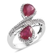 Niassa Ruby, Cambodian Zircon Platinum Over Sterling Silver Ring (Size 7.0) TGW 5.49 cts.