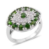 Russian Diopside, White Zircon Sterling Silver Cluster Ring (Size 10.0) TGW 2.11 cts.