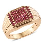 Mahenge Pink Spinel 14K YG Over Sterling Silver Men's Ring (Size 10.0) TGW 1.05 cts.