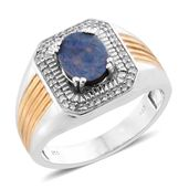 Australian Boulder Opal, Cambodian Zircon 14K YG and Platinum Over Sterling Silver Men's Ring (Size 10.0) TGW 1.95 cts.