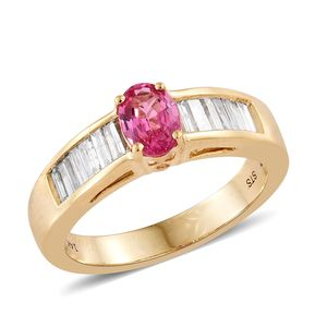 14K YG Mahenge Pink Spinel, Diamond Ring (Size 7.0) TDiaWt 0.48 cts, TGW 1.23 cts.