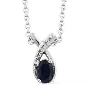 Madagascar Blue Sapphire Stainless Steel Pendant With Chain (20 in) TGW 0.70 cts.