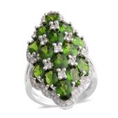 Russian Diopside, White Zircon Sterling Silver Elongated Cluster Ring (Size 7.0) TGW 9.50 cts.