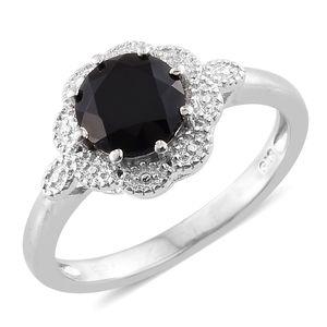 KARIS Collection - Thai Black Spinel Platinum Bond Brass Ring (Size 9.0) TGW 2.70 cts.