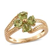 KARIS Collection - Hebei Peridot ION Plated 18K YG Brass Flower Bypass Ring (Size 10.0) TGW 2.00 cts.