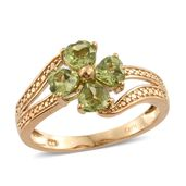 KARIS Collection - Hebei Peridot ION Plated 18K YG Brass Flower Bypass Ring (Size 7.0) TGW 2.00 cts.
