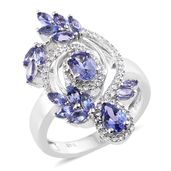 Premium AAA Tanzanite, Cambodian Zircon Platinum Over Sterling Silver Elongated Ring (Size 5.0) TGW 3.17 cts.