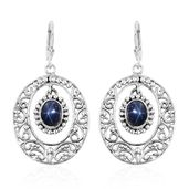 Artisan Crafted Thai Blue Star Sapphire Sterling Silver Openwork Scroll Dangle Earrings TGW 6.22 cts.