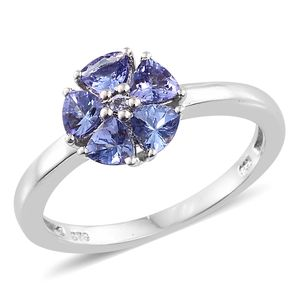 Premium AAA Tanzanite Platinum Over Sterling Silver Flower Ring (Size 5.0) TGW 1.40 cts.
